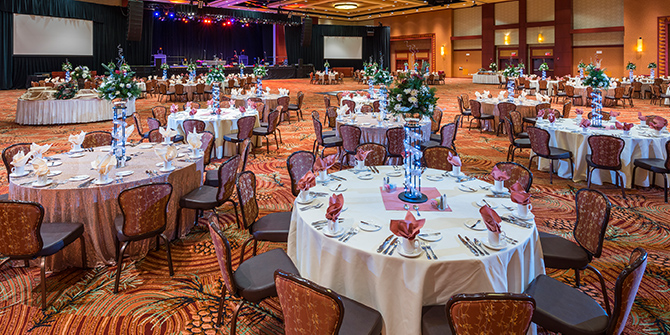 Banquet tables in the Event Center at Seneca Allegany Resort & Casino