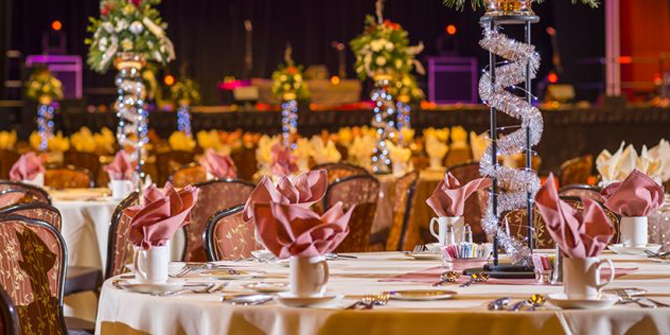 Photo of elegant party decorations and tables at the Event Center at Seneca Allegany Resort & Casino